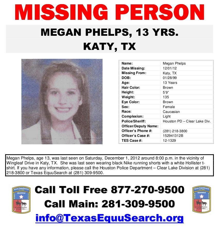 Megan Phelps: 13-year-old missing from Texas Found · Missing Persons of America