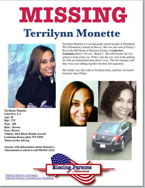 Terrilynn Monette: Missing teacher from Louisiana Found · Missing Persons of America