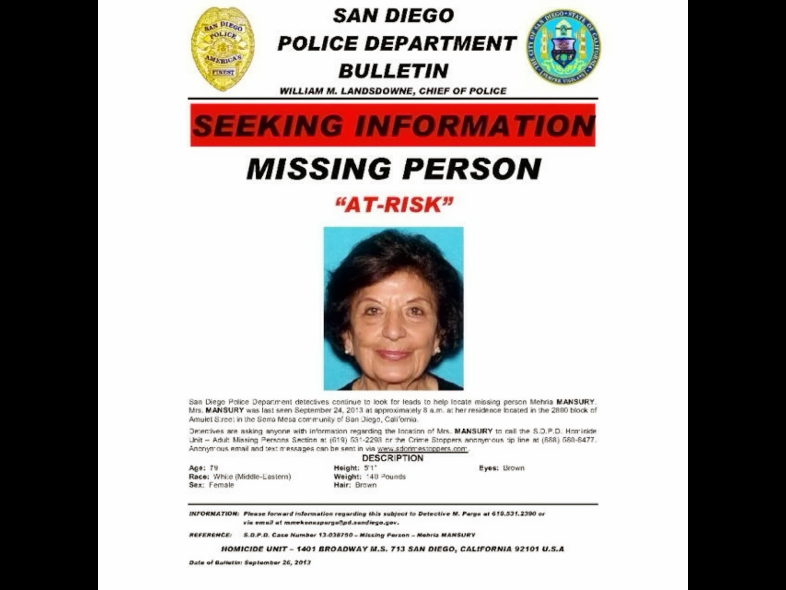 Mehria Mansury: Missing From San Diego Found  Make A Missing Person Poster