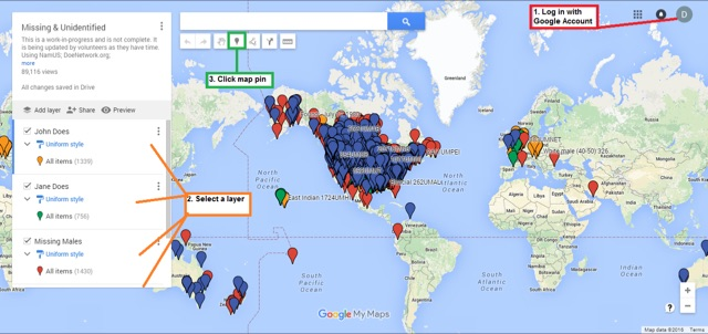 Map of disappearances in the us